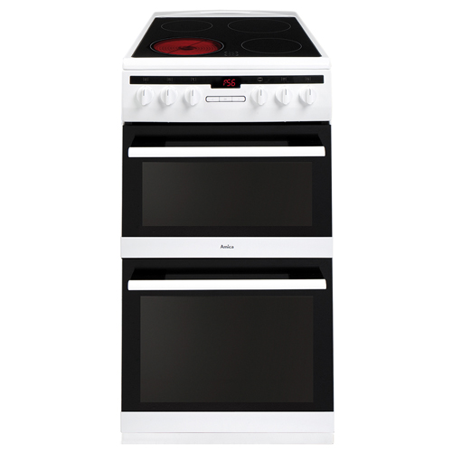 508DCE2TAW 50cm freestanding electric double oven with ceramic hob, white