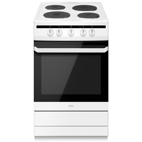 508EE1W 50cm freestanding electric cooker with electric plate hob, white