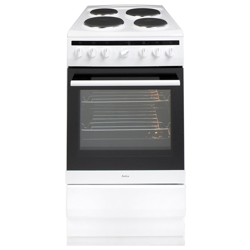 508EE2MSW 50cm freestanding electric cooker with electric plate hob, white