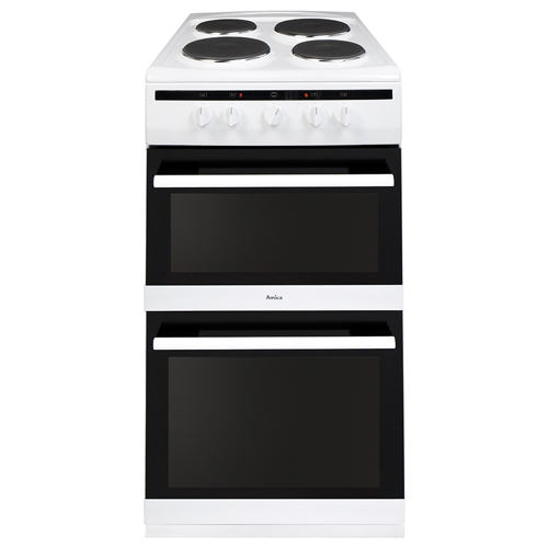 508TEE1W 50cm freestanding electric double oven with electric plate hob, white