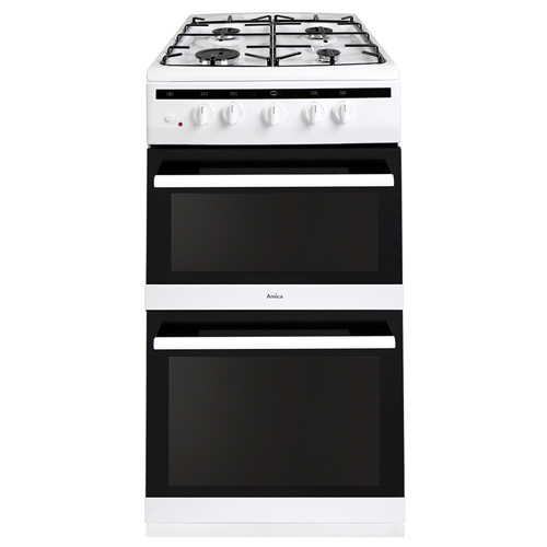508TGG2W 50cm freestanding gas twin cavity cooker, white