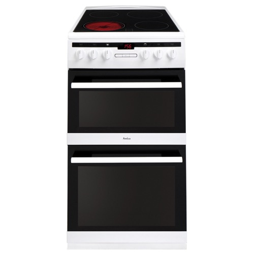 AFC5550WH 50cm freestanding electric double oven with ceramic hob