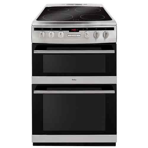 AFC6550SS 60cm freestanding electric double oven with ceramic hob