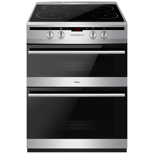 AFN6550SS 60cm freestanding electric double oven with induction hob