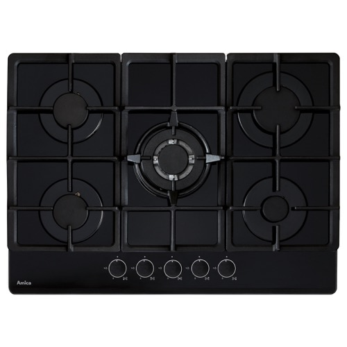 AGVH7300BL 70cm 5 burner gas on glass hob