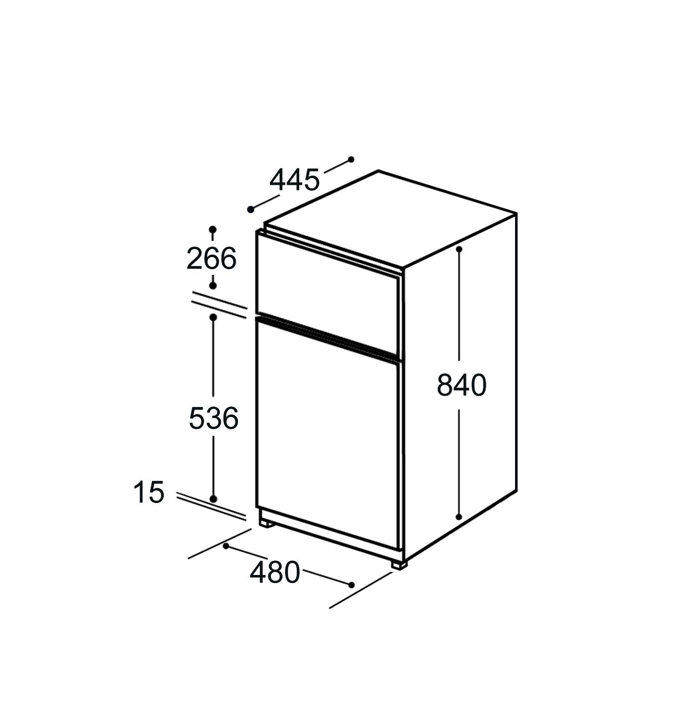 FD1714 48cm freestanding undercounter double door fridge freezer, white Alternative (0)