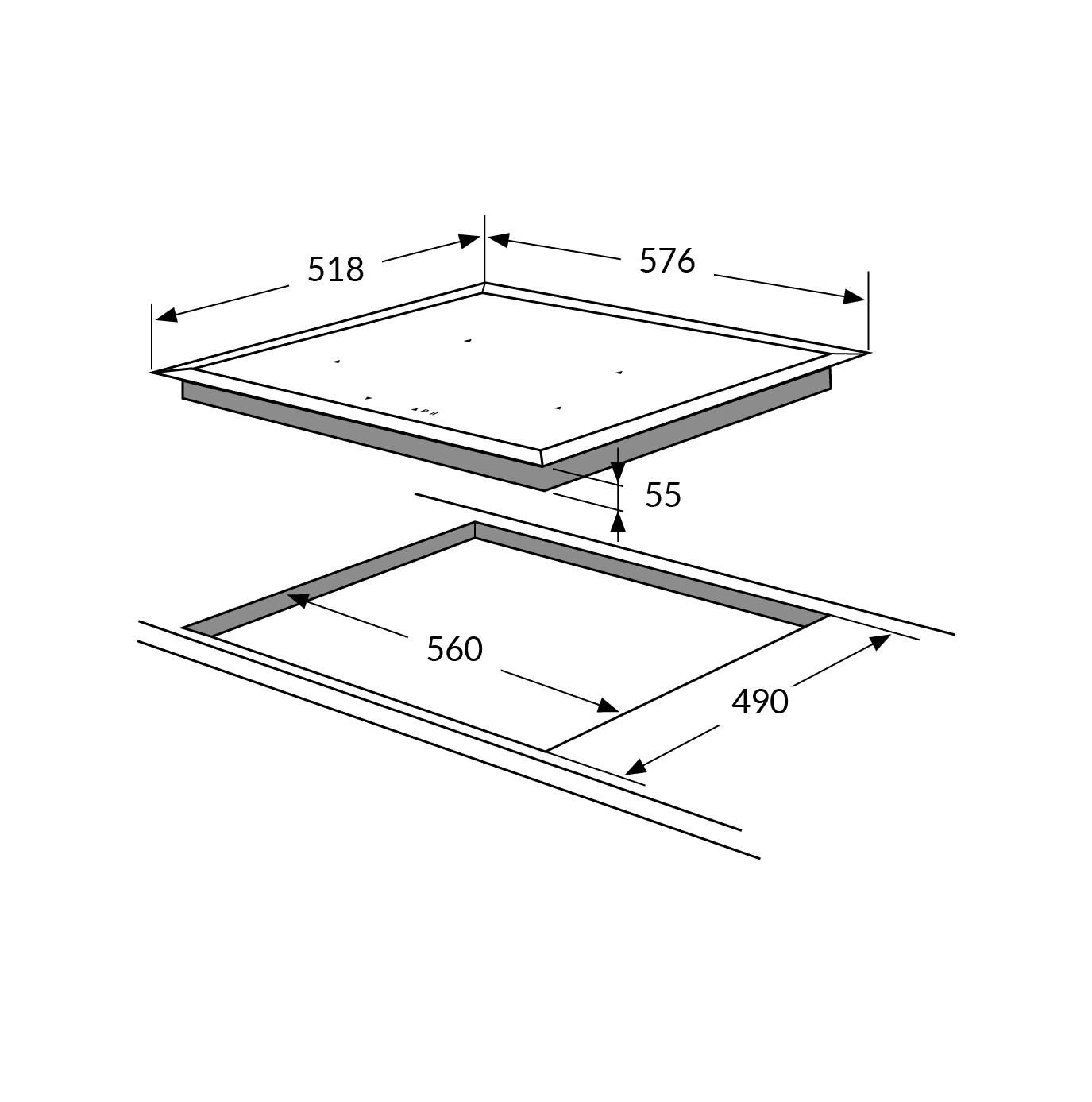 PI6544STK 60cm 4 zone induction hob, frameless Alternative (8)