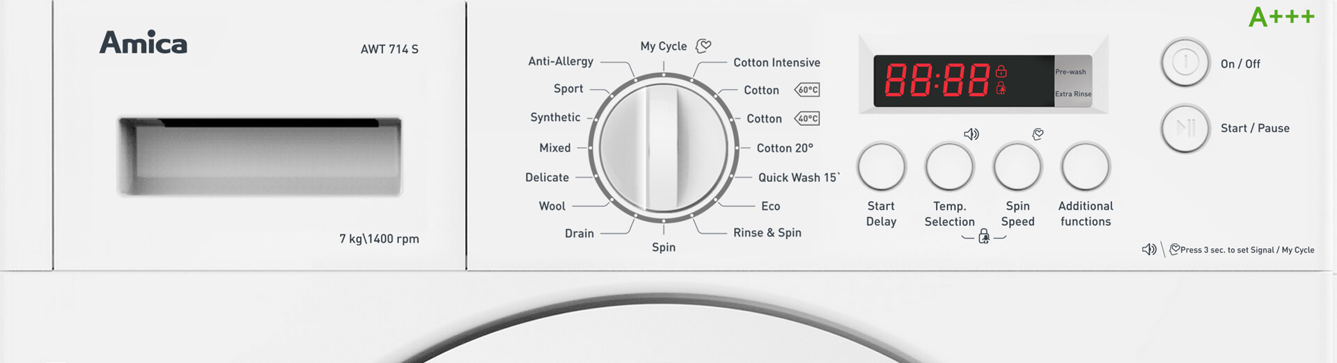 integrated washing machine front banner