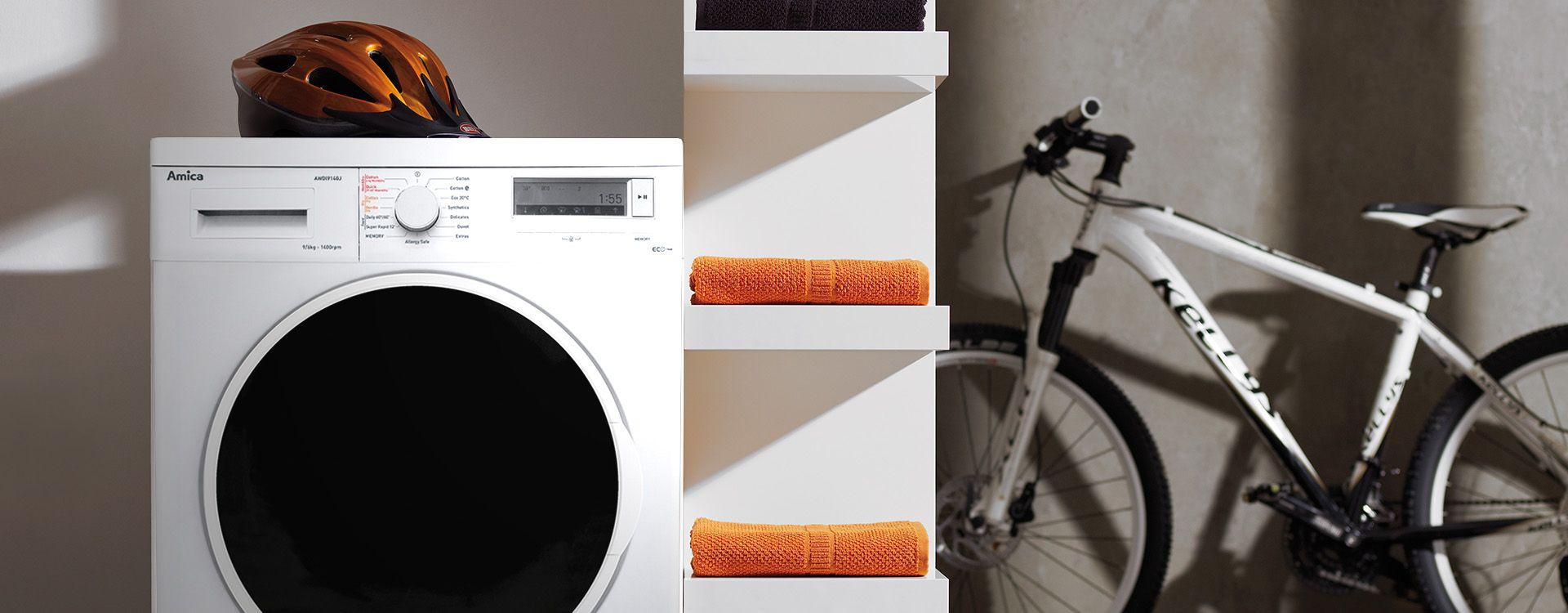 freestanding washing machine in kitchen set