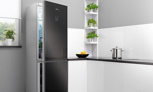 Refrigerator in kitchen set